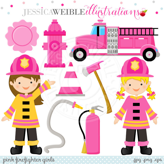 Fire Truck clipart commercial  digital OK Pink is