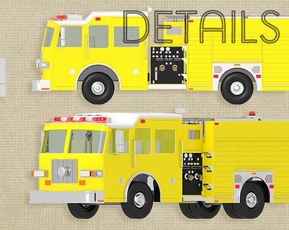 Fire Truck clipart commercial Png digital dpi 80% is