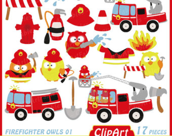 Fire Truck clipart commercial Etsy art clipart clipart OWLS