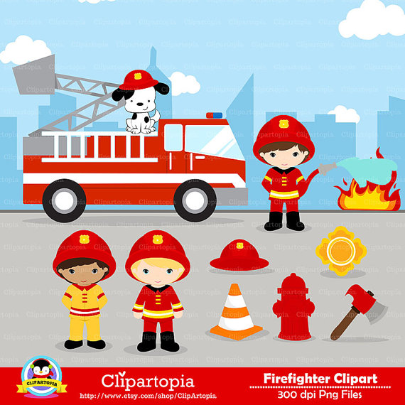 Fire Truck clipart commercial Use Fireman Clipart Commercial Clip