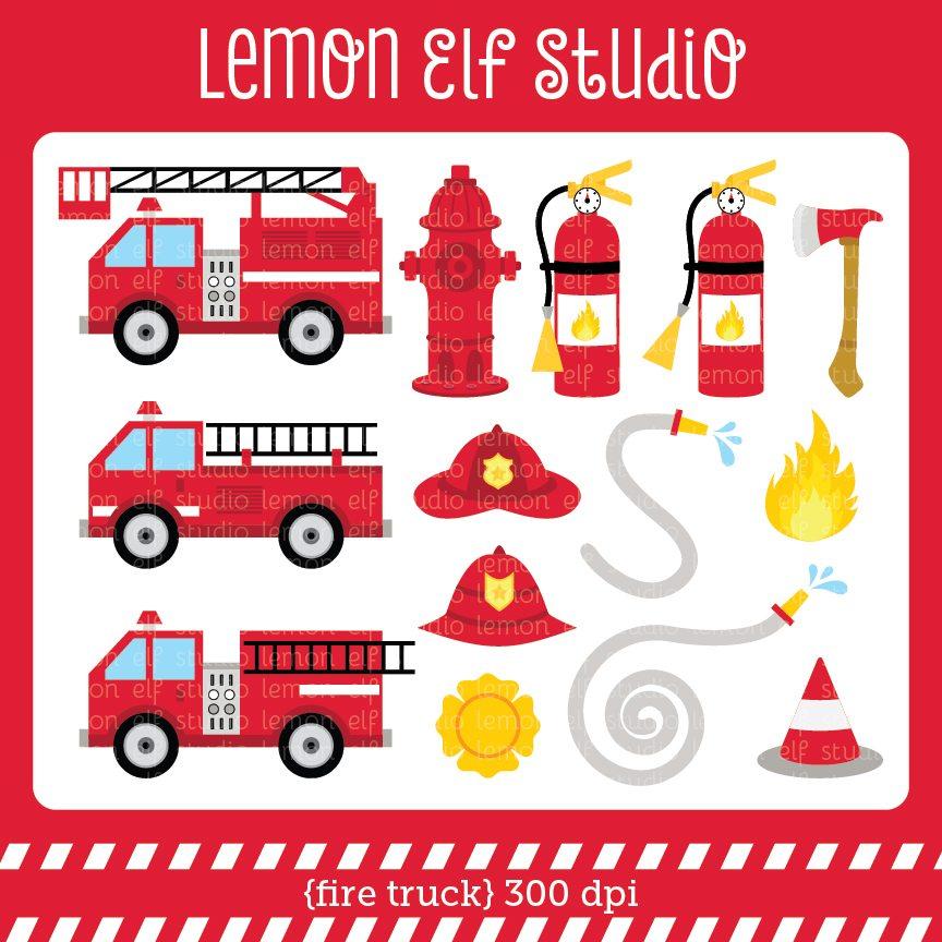 Fire Truck clipart digital CL50 01 fire Clipart Mygrafico