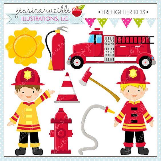 Fire Truck clipart digital Firefighter Digital Kids OK de