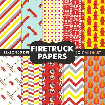 Fire Truck clipart digital Find and this Digital Papers