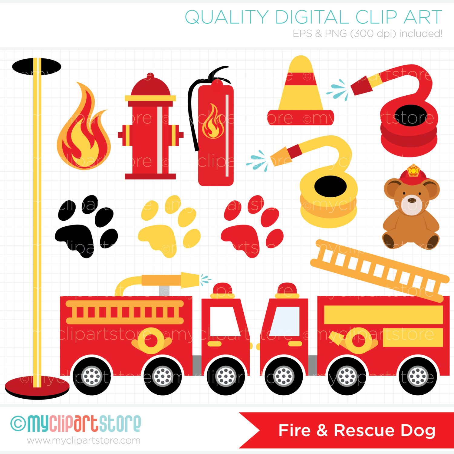 Fire Truck clipart digital This digital is Dog and