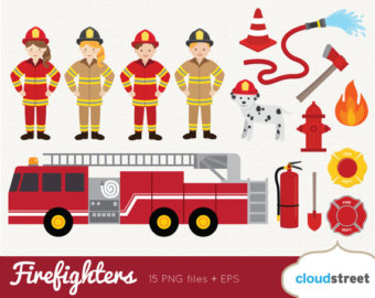Firefighter clipart red Art Firefighter Clip graphics Etsy