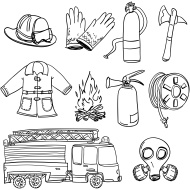 Fire Truck clipart firefighter tool White tools Wektory collection black