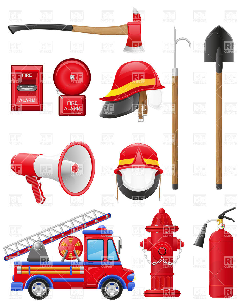 Fire Truck clipart firefighter tool Free of Set Clipart equipment