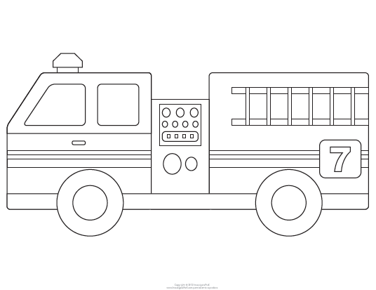 Fire Truck clipart simple Template printable Fire  outline