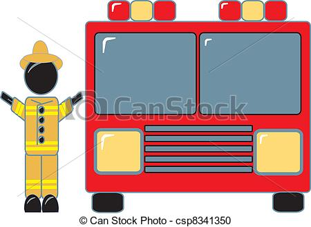 Fire Truck clipart simple Of Beside his Fireman Truck