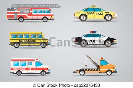 Fire Truck clipart taxi car Of Vector isolated set the