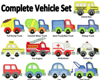Fire Truck clipart taxi car TRANSPORT Vehicle Embroidery ART Machine