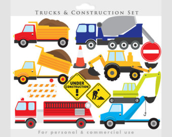 Fire Truck clipart yellow car Trucks excavator construction fire clipart