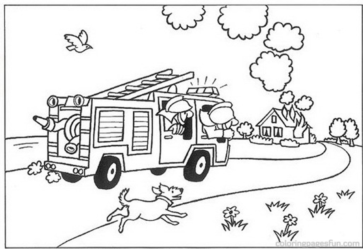 Firefighter clipart coloring #15