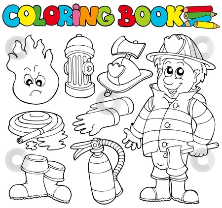 Firefighter clipart coloring Stock vector collection Coloring book