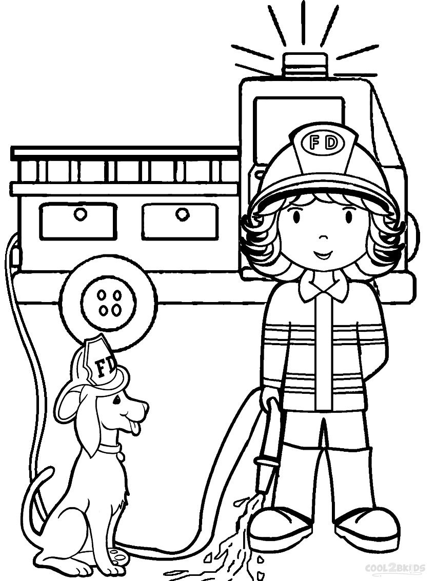 Firefighter clipart coloring Fireman Best Page coloring With