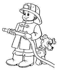 Firefighter clipart coloring Fireman Fighter Pinterest Coloring And