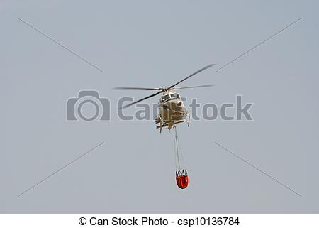 Firefighter clipart helicopter Firefighter helicopter carrying bucket a