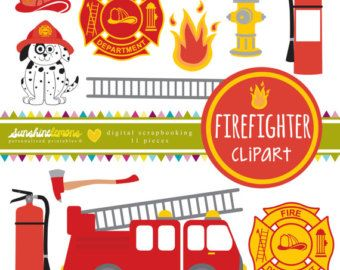Firefighter clipart oxygen tank Firefighter Digital 25+  clipart
