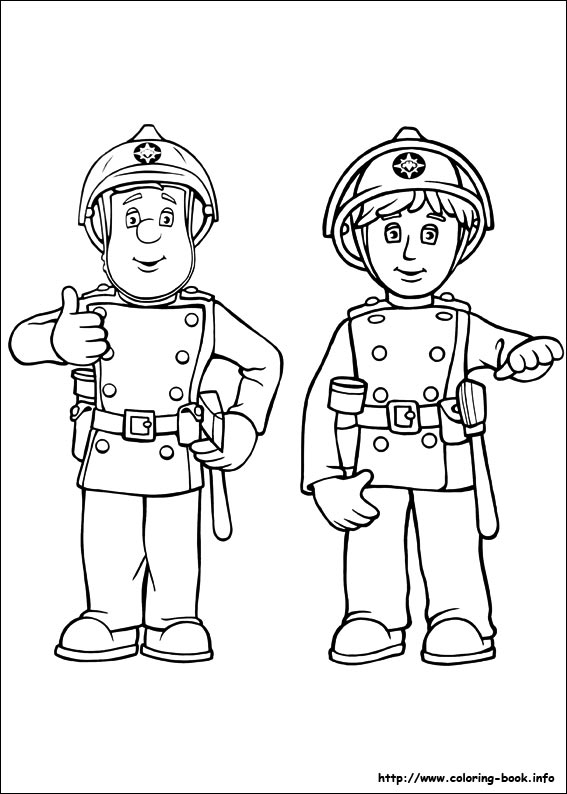 Firefighter clipart outline [Index] Coloring pages Fireman Sam
