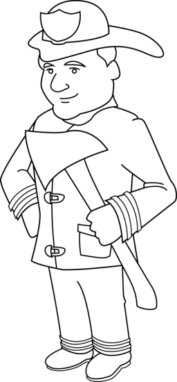 Firefighter clipart outline Fireman Free Coloring Coloring Page