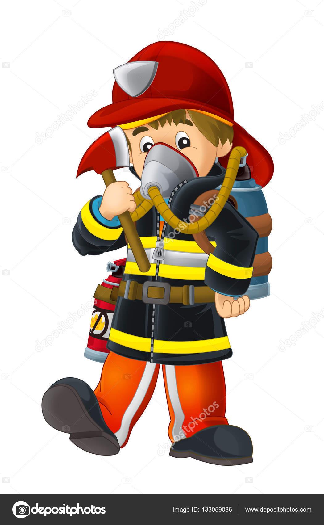 Firefighter clipart oxygen tank — oxygen fireman Photo axe