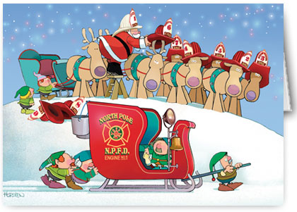 Firefighter clipart santa Santa claus Firefighter  Claus