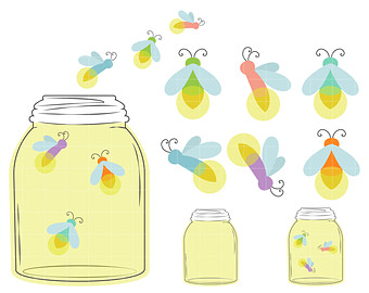 Firefly clipart Jar A clipart Etsy Paper