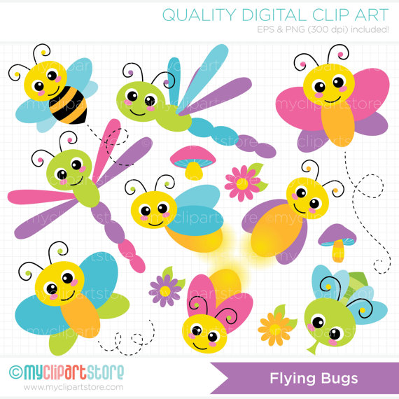 Bugs clipart butterfly Dragonfly bee  (Instant on