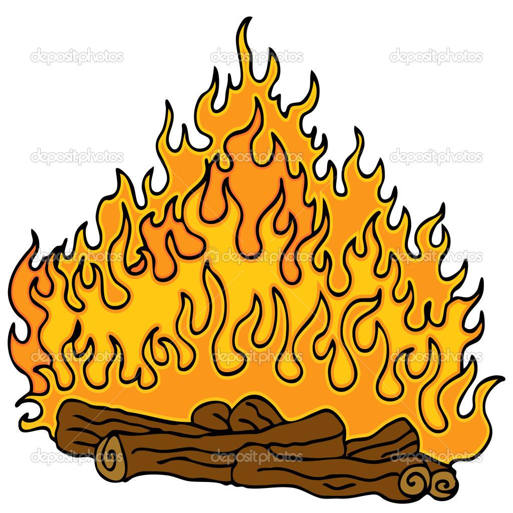 Campfire clipart log fire Clipart Cartoon Flames Panda Fireplace