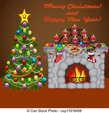 Fireplace clipart christmas fireplace scene Clipart Vector a of of