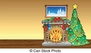 Fireplace clipart christmas fireplace scene  Vector Christmas of fireplace