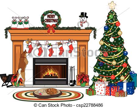 Fireplace clipart christmas fireplace scene Senior Man Vector and Cartoon