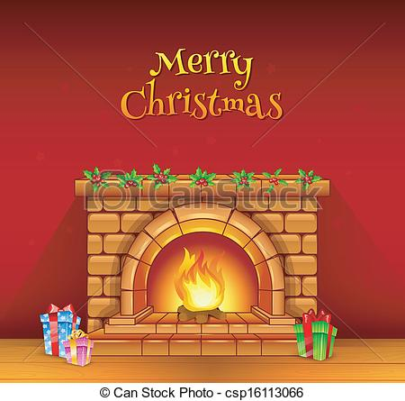 Fireplace clipart drawn Illustration;  of Fireplace with