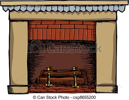 Fireplace clipart drawn Of fireplace with csp8655200 Unlit