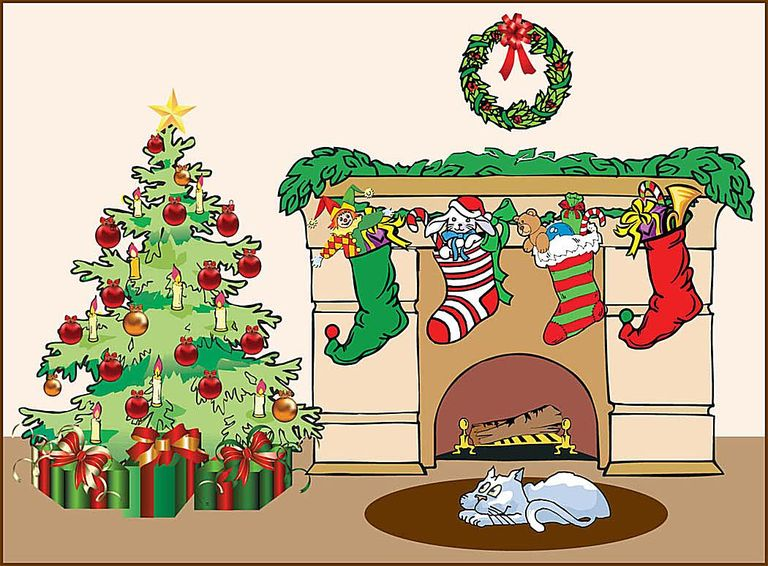 Fireplace clipart office christmas Stockings The Fireplace A With
