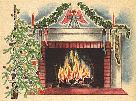 Fireplace clipart old fashioned About Christmas Cards Art Tree