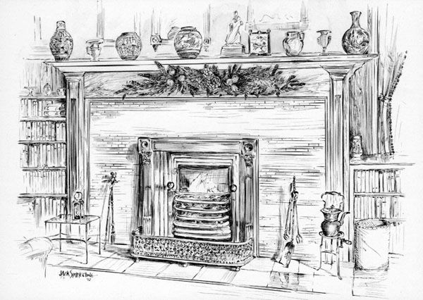 Fireplace clipart old fashioned Drawing christmas on Google Art