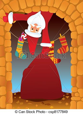 Fireplace clipart santa claus Santa csp8177849 the Christmas eve