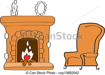 Fireplace clipart stone fireplace Luxury with Stone Stock