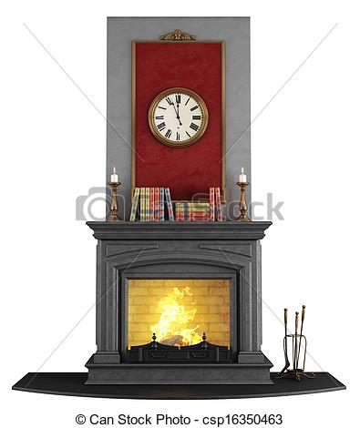 Fireplace clipart stone fireplace White Classic isolated fireplace