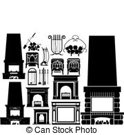 Fireplace clipart vector Clip fireplaces Images 4 silhouettes