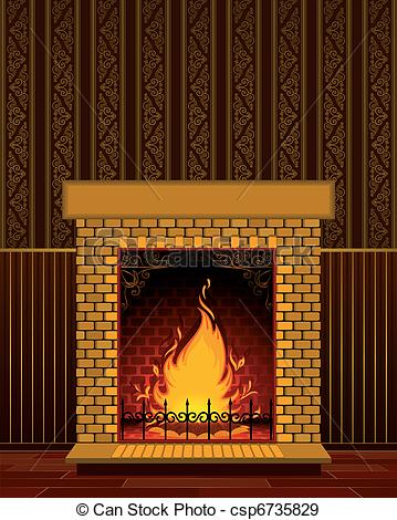 Fireplace clipart vector With flame Stone fireplace of