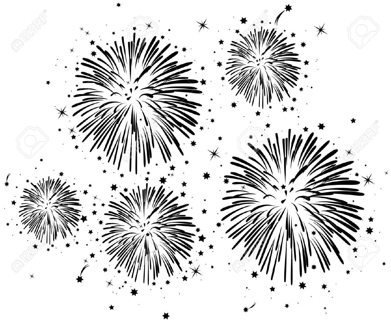 Fireworks clipart black and white Fireworks Stock  Illustrations Fireworks