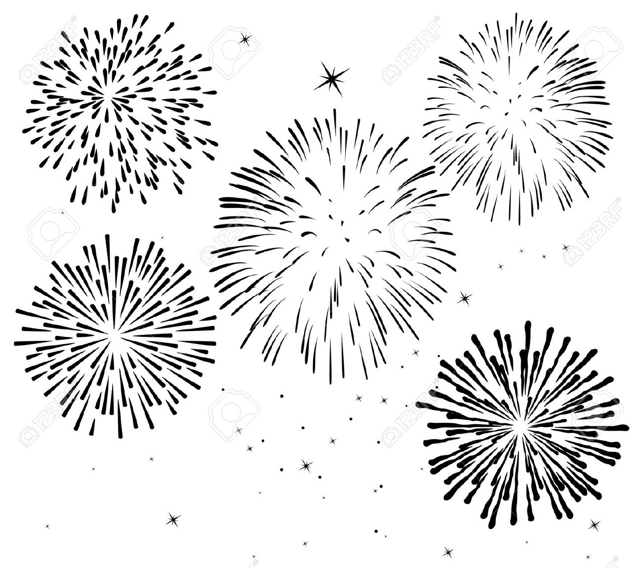 Fireworks clipart black and white Stars Black Vector and red