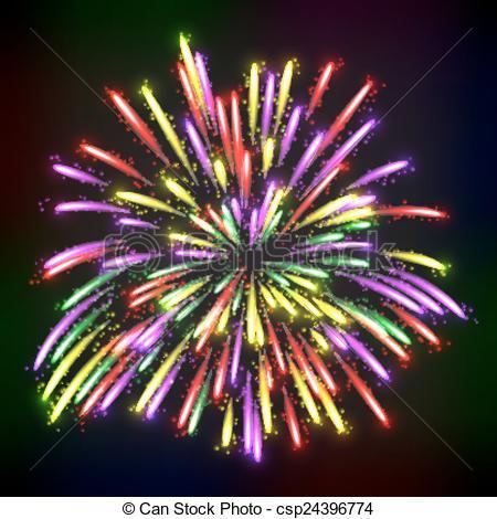 Fireworks clipart black background Bright over festive  Illustration