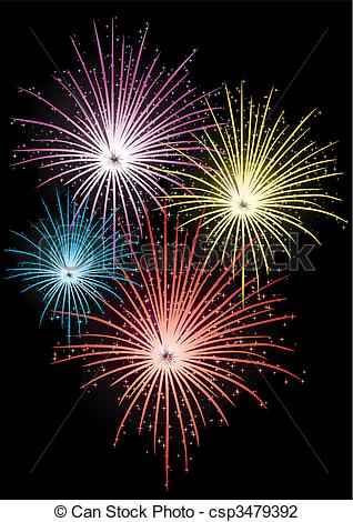 Fireworks clipart black background Vector firework  Vector Abstract