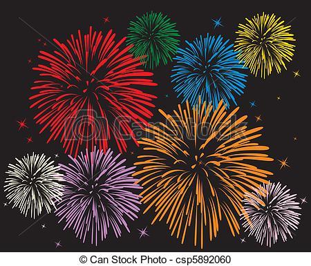 Fireworks clipart black background  colorful fireworks fireworks Vector