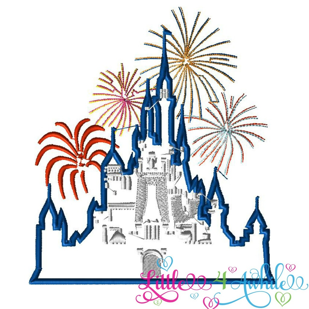 Fireworks clipart castle Fireworks Inspired Castle Applique with