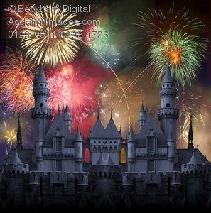Fireworks clipart castle Over Photo of a Stock