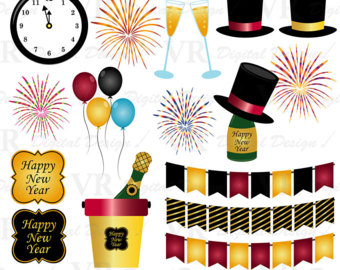 New Year clipart party supply Year Year Clip clipart Instant